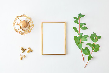 Flat lay composition with golden frame and branches with green leaves on a light background