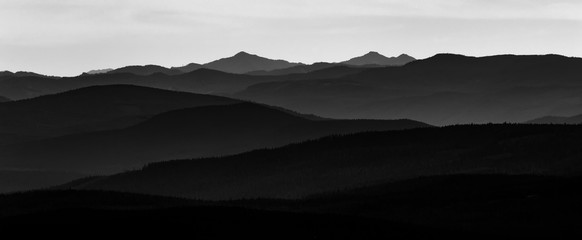 Oregon Mountains. Landscape with  silhouettes of mountains