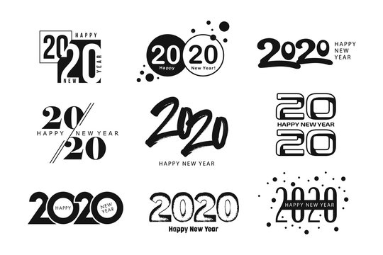 Big Set of 2020 Happy New Year logo text design. 2020 number design template. Collection of 2020 happy new year symbols. Vector illustration with black labels isolated on white background.