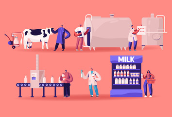Milk Production Manufacturing, Farm Industry, Stage Process on Conveyor, Dairy Food Machine Plant. Test Beverage Quality in Flask Products Industrial Management, Sale. Cartoon Flat Vector Illustration