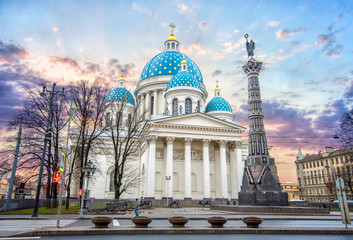 The Trinity Izmailovo Cathedral (Troitsky sobor; Troitse-Izmailovsky sobor), sometimes called the Troitsky Cathedral, in Saint Petersburg, Russia at sunset.