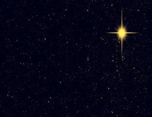 Christmas star glowing in night sky