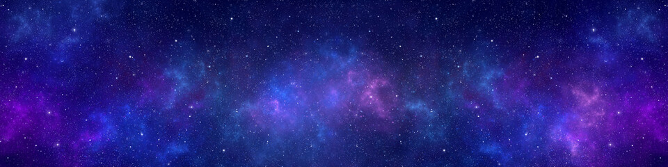 Nebula and stars in night sky web banner. Space background. Fotomurales