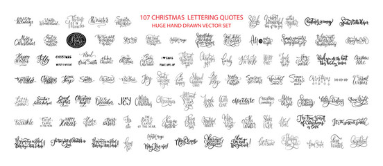 Christmas Hand Drawn Ink Lettering Vector Greeting Quotes. Merry Christmas and Happy New Year Big Textured Calligraphy Set. Xmas Typography Collection. Fototapete