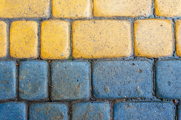 yellow and blue cobbles of pavement texture. stone masonry floor covering close up. top view of wet grungy background