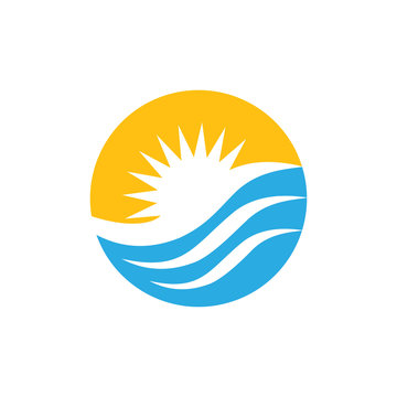 sun waves circle colorful logo vector
