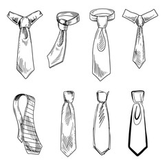 Different types of tie knots hand drawn illustrations set