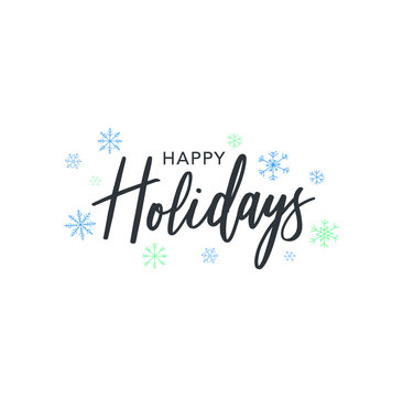 Happy Holidays Calligraphy Vector Text With Hand Drawn Blue Winter Snowflakes Over White Background