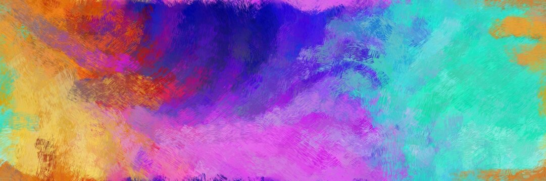 abstract seamless pattern brush painted background with medium orchid, steel blue and medium aqua marine color. can be used as wallpaper, texture or fabric fashion printing