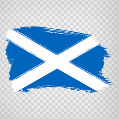 Flag Scotland from brush strokes. Flag Scotland on transparent background for your web site design, logo, app, UI.  UK. Stock vector.  EPS10.