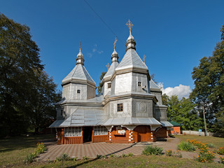 The Church of the Nativity of B.V.M. at Nyzhniy Verbizh, Ukraine is part of the Unesco world heritage site Wooden Tserkvas of the Carpathian Region