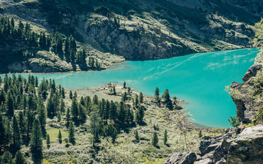 Wall Mural - Wild russian nature. Beautiful landscape with emerald lake in the mountains. Clear turquoise water. Traveling in the Altai Republic. Tourism in Russia in the summer. Siberian reserve. Kuyguk Lake.