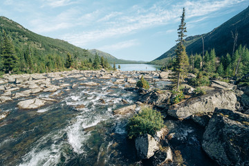 Wall Mural - Wild russian nature. Beautiful landscape with the river in the mountains. Lake with clear water. Traveling in the Altai Republic. Active tourism in Russia in the summer. Siberian reserve.