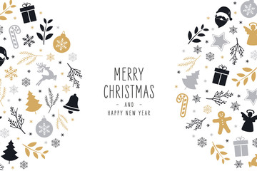 Wall Mural - Christmas icons elements decoration greeting card on white background