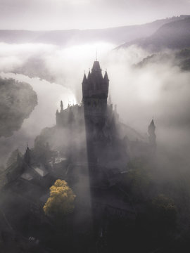 Foggy Sunrise at Castle Cochem in the Mosel Valley –Germany