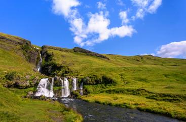 Gluggafoss Waterfall in idyllic landscape, Hvolsvöllur, Sudurland, Iceland