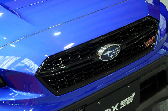 KUALA LUMPUR, MALAYSIA -MARCH 23, 2018: Selected focused on Subaru commercial brand emblem and logos at the car body. Subaru is one of the famous cars manufactures in the world from Japan.