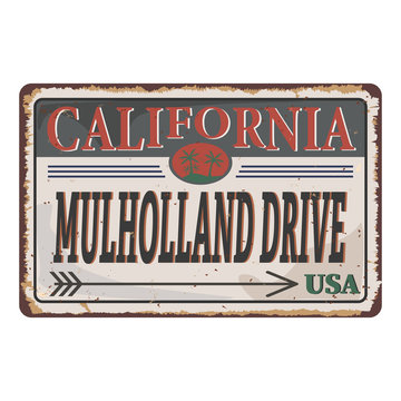 Los Angeles Street Signs rusty metal plate on white