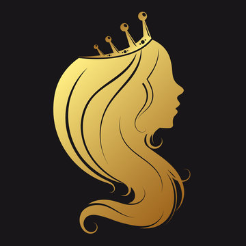 Silhouette of a girl with golden crown and a beautiful hairstyle