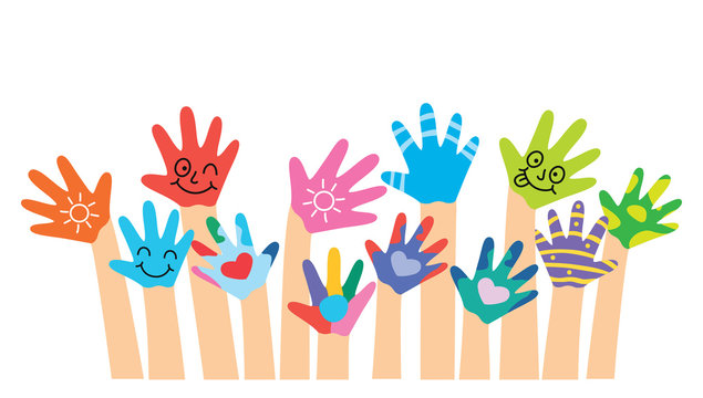 Painted Hands Of Little Children