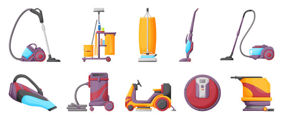 Vacuum cleaner cartoon vector illustration on white background . Set icon vacuum cleaner for cleaning .Cartoon vector icon hoover for cleaning carpet.