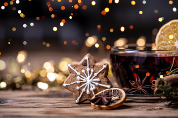 red mulled wine, hot drink in christmas decoration background