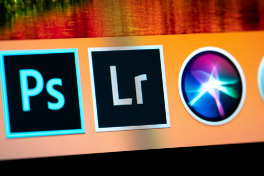 Lightroom icon on laptop screen close-up view