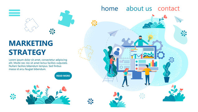 Banner marketing strategy concept vector illustration