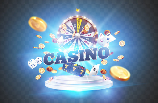 The word Casino, surrounded by a luminous frame and attributes of gambling, on a explosion background.