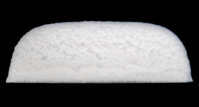 White Snow Cap Isolated on Black Background.