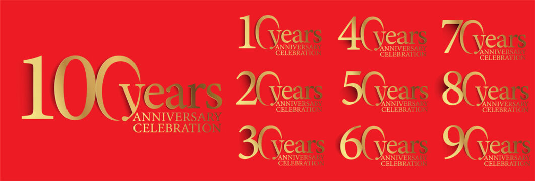 set of anniversary logotype style with handwriting golden color for celebration event, wedding, greeting card, and invitation. vector illustration