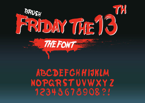"Vintage Hand Drawn Typeface ""Friday 13 ""."
