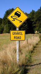 New Zealand gravel road warning sign, Manapouri, Southland