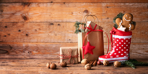 Santa´s shoe  -  Stuffed Santa Claus boot -  Gumboot,  paper bag, gift boxes and gingerbread man...