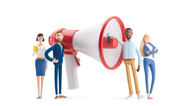 Concept of creative team. 3d illustration.  Hiring and recruitment concept with characters. Group of people shouting on megaphone