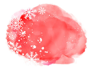 Abstract winter landscape on red watercolor splash with snowflakes on white background and copy space...