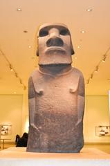 London, UK - April 2019: Moai statue in British museum