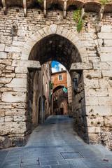 Medieval Porta Eburnea Gate or Arco della Mandorla (Almond Arch) of Perugia ancient etruscan city walls