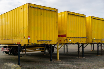 truck on the road - yellow container
