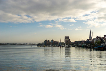 city harbor of rostock - morning hours
