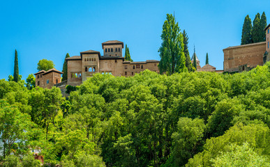 Panoramic sight of the Alhambra Palace in Granada. Andalusia, Spain.