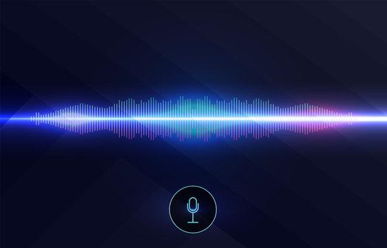 Voice recognition, equalizer, audio recorder. Microphone button with sound wave. Symbol of intelligent technology.   Hi-tech AI assistant voice, background wave flow, equalizer. Vector illustration