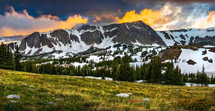 Summer Alpine Sunset in Wyoming's Snowy Range Mountains Near Laramie, Wyoming