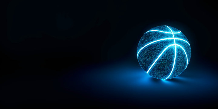 3D Rendering of creative basketball with glowing neon seams