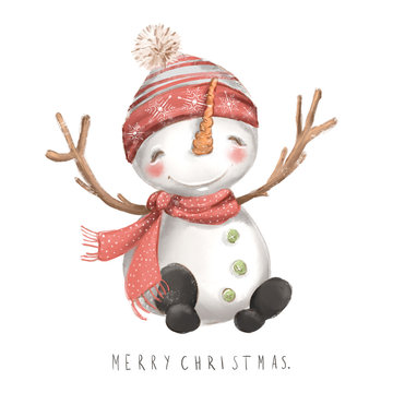 Cute snowman in red hat and scarf watercolor sketch hand drawn illustration. Merry Christmas lettering