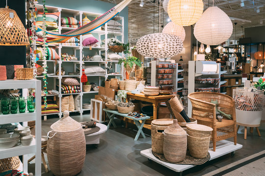 View Of Assortment Of Decor For Interior Shop In Store Of Shopping Center
