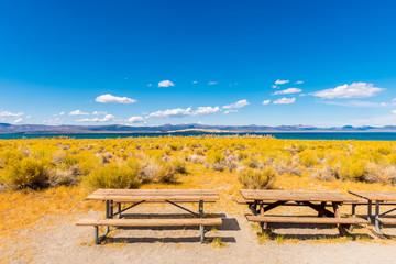 Picnic Tables near Mono Lake, Mono County, California, USA. Mono Lake is a saline soda lake formed at least 760,000 years ago.