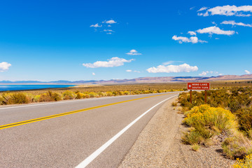Directional Sign to Mono Lake and its South Tufa area in Mono County, California, USA