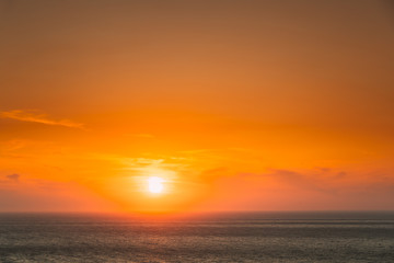 Evening Sun Sunshine Above Sea. Natural Sunset Sky Warm Colors. Seascape Fototapete