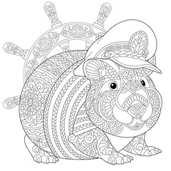coloring page with guinea pig